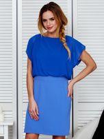 Gładka sukienka z łączonych materiałów niebieska                                  zdj.                                  1