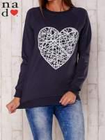 Grafitowa bluza z nadrukiem serca