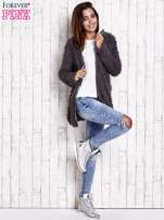 Grafitowy futrzany sweter kurtka na suwak                                                                          zdj.                                                                         9