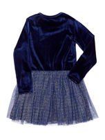 Granatowa aksamitna sukienka dla dziewczynki                                  zdj.                                  2
