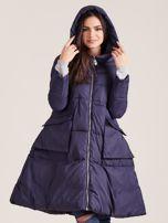 Granatowa asymetryczna kurtka zimowa                                  zdj.                                  5