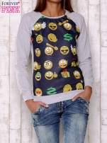 Granatowa bluza damska z nadrukiem emotikonów                                  zdj.                                  1