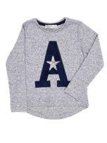 Granatowa bluza dla dziewczynki z literą                                  zdj.                                  4