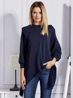 Granatowa bluza oversize z kapturem                                  zdj.                                  1
