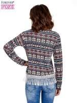 Granatowa bluza w azteckie wzory z koronką z frędzlami                                  zdj.                                  4