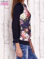 Granatowa bluza z kwiatowym motywem                                                                          zdj.                                                                         3