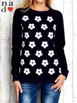Granatowa bluza z nadrukiem kwiatów                                  zdj.                                  1