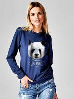 Granatowa bluza z nadrukiem pandy                                  zdj.                                  1