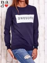 Granatowa bluza z napisem AWESOME                                                                          zdj.                                                                         3