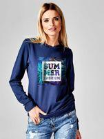 Granatowa bluza z napisem SUMMER FASHION                                  zdj.                                  1