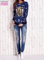Granatowa bluza ze złotym nadrukiem