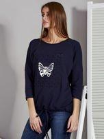 Granatowa bluzka z motywem motyli                                  zdj.                                  3