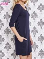 Granatowa dresowa sukienka z dekoltem na plecach                                                                          zdj.                                                                         3