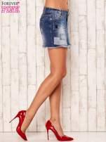 Granatowa jeansowa spódnica z wystrzępionym dołem                                  zdj.                                  4