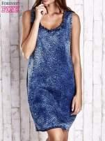 Granatowa jeansowa sukienka z motywem animal print                                  zdj.                                  1