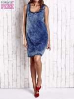 Granatowa jeansowa sukienka z motywem animal print                                  zdj.                                  7