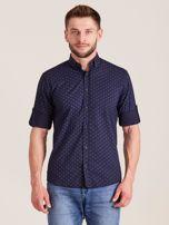Granatowa koszula męska w drobne wzory                                  zdj.                                  1