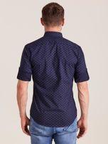 Granatowa koszula męska w drobne wzory                                  zdj.                                  2