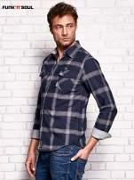 Granatowa koszula męska w kratę FUNK N SOUL                                  zdj.                                  3