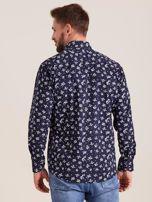 Granatowa koszula męska w roślinne wzory                                  zdj.                                  2