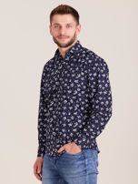 Granatowa koszula męska w roślinne wzory                                  zdj.                                  3
