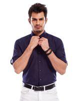 Granatowa koszula męska z podwijanymi rękawami                                  zdj.                                  7