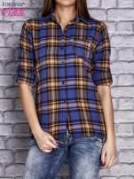 Granatowa koszula w kratę                                  zdj.                                  1