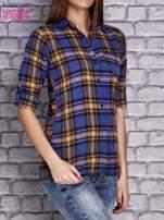 Granatowa koszula w kratę                                  zdj.                                  3