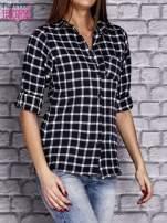 Granatowa koszula w kratę z kieszonką                                  zdj.                                  3
