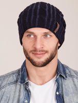 Granatowa męska zimowa czapka w warkocze                                  zdj.                                  1
