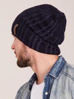 Granatowa męska zimowa czapka w warkocze                                  zdj.                                  3
