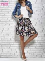 Granatowa plisowana spódnica w kwiaty                                  zdj.                                  2