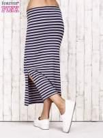 Granatowa spódnica maxi w paski