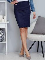 Granatowa spódnica z imitacji zamszu                                  zdj.                                  1