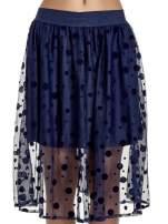 Granatowa spódnica z tiulową warstwą w groszki                                  zdj.                                  5