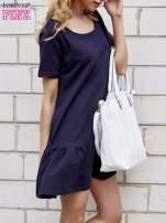Jasnoniebieska sukienka dresowa z falbanami z boku