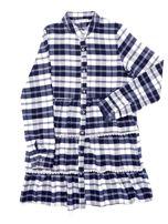 Granatowa sukienka w kratę dla dziewczynki z warstwowymi falbanami                                  zdj.                                  1