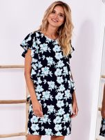 Granatowa sukienka w kwiaty z falbanami                                  zdj.                                  1