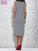 Granatowa sukienka w paski z rozcięciami                                   zdj.                                  5