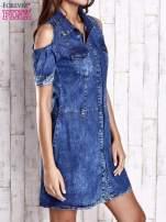 Granatowa sukienka z rękawami cut out                                  zdj.                                  3