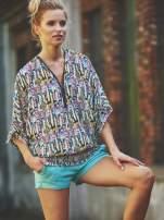 Granatowa wzorzysta koszula nietoperz z suwakiem                                  zdj.                                  1