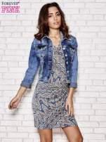 Granatowa wzorzysta sukienka z drapowaniem                                  zdj.                                  5