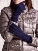 Granatowe długie rękawiczki z przeszywanym ściągaczem                                  zdj.                                  1