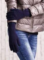 Granatowe długie rękawiczki z przeszywanym ściągaczem                                  zdj.                                  3