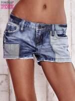 Granatowe jeansowe szorty z jaśniejszymi wstawkami                                  zdj.                                  1