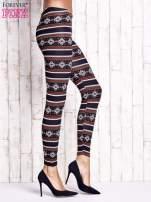 Granatowe legginsy z zimowym nadrukiem                                  zdj.                                  3