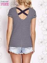 Granatowo-biały t-shirt w paski crossed back                                  zdj.                                  2