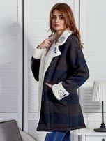 Granatowo-zielony płaszcz na baranku w kratkę                                  zdj.                                  3