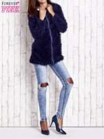 Granatowy futrzany sweter kurtka na suwak                                  zdj.                                  8