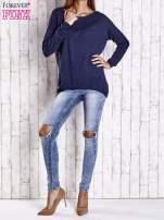 Granatowy nietoperzowy sweter oversize z dłuższym tyłem                                                                          zdj.                                                                         2